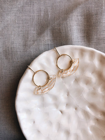 Laser cut acrylic Gold & Pearl circle earrings - kookinuts