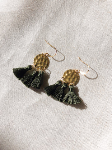 Hammered Brass Tassel earrings in 4 colours - Dark Khaki