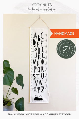 Kids Height Chart Growth Chart (Eco Canvas) Personalised Options - Dream Big, Grow Big - kookinuts
