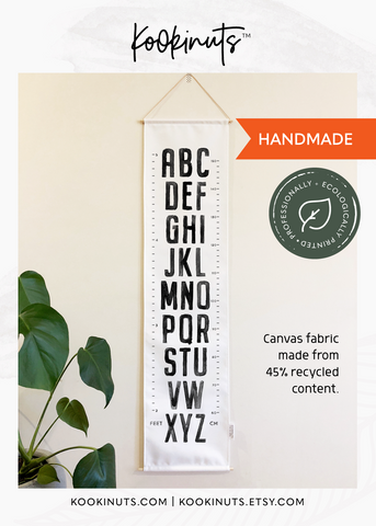 READY TO POST Growth Chart (Eco Canvas) - Painted Alphabet - kookinuts