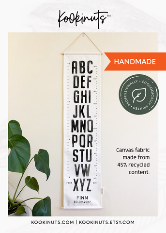 Growth Chart (Eco Canvas) Personalised Options - Painted Alphabet - kookinuts