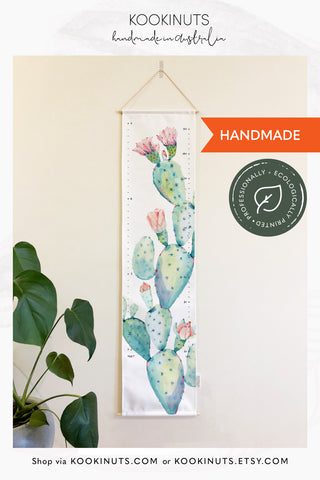 Growth Chart (Eco Canvas) Ready to Post - Prickly Pear Cactus Southwestern Nursery - kookinuts