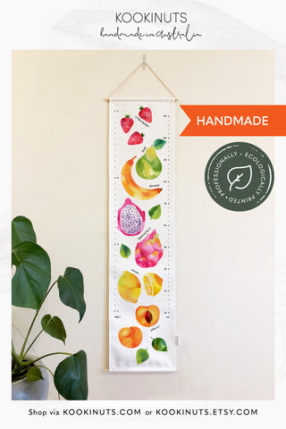 Kids Height Chart Growth Chart (Eco Canvas) - Watercolour Fruits - kookinuts