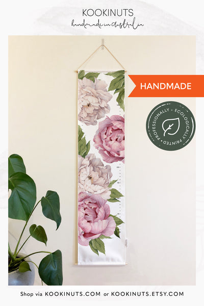 Growth Chart (Eco Canvas) - Pink and White Peonies - kookinuts