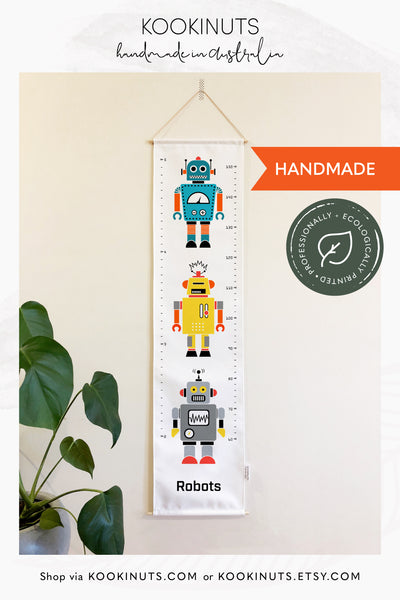 Growth Chart (Eco Canvas) - Retro Robots - kookinuts