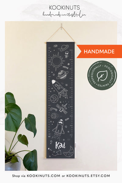 Space theme Growth Chart for boys Height Chart Kids Personalized Growth Chart