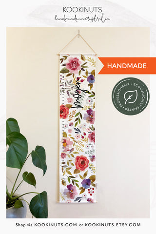 Growth Chart (Eco Canvas) Personalised Options - Watercolour Vintage Wildflowers - kookinuts