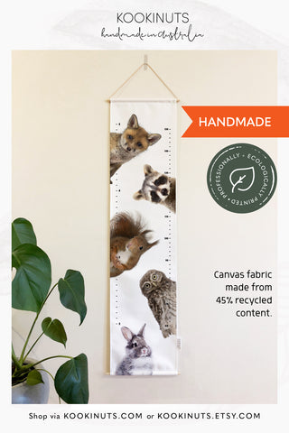READY TO POST Kids Height Chart Growth Chart (Eco Canvas) - Peekaboo Baby Animal Friends - kookinuts