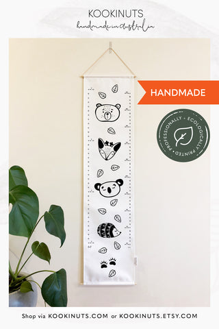 Kids Height Chart Growth Chart (Eco Canvas) - Woodland Animals - kookinuts