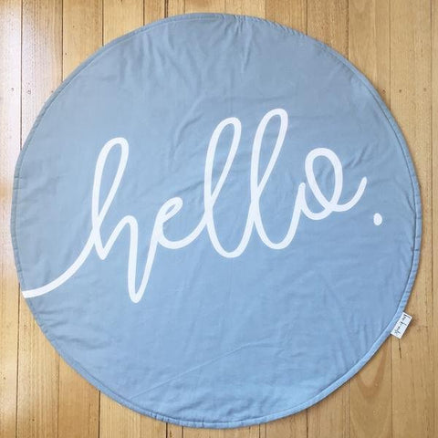 READY TO POST - Round Play Mat Tummy Time Mat for Boys Handmade Denim Blue 'hello' Play Mat Roundie Baby shower gift