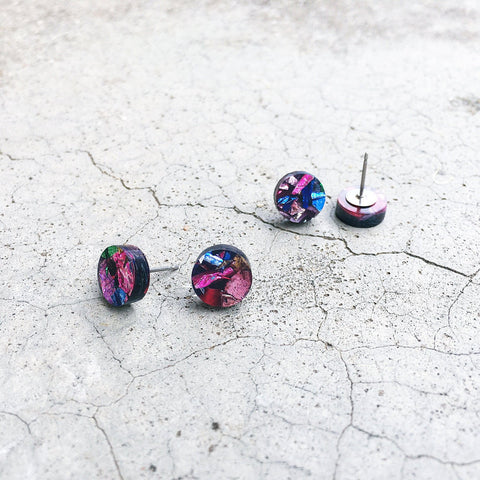 Circle stud post earrings circle earrings round earrings glitter studs glitter earrings - kookinuts