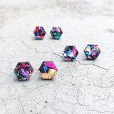 Geometric Hexagon glitter stud post earrings colourful acrylic earrings multicolor hex laser cut hypoallergenic earrings - kookinuts