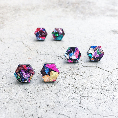 Geometric Hexagon glitter stud post earrings colourful acrylic earrings multicolor hex laser cut hypoallergenic earrings