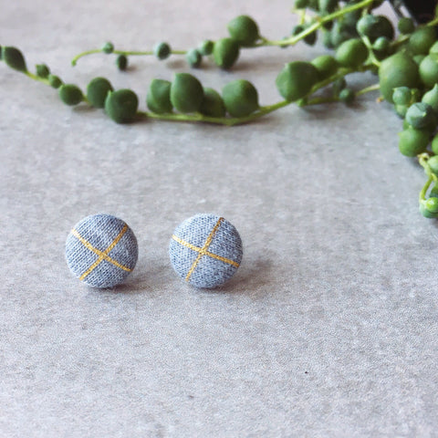 Grey and gold striped cross round stud earrings - grey and metallic gold - Hypoallergenic posts - kookinuts