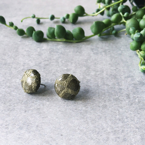 Khaki olive green snakeskin leatherette post earrings - Hypoallergenic earrings - kookinuts