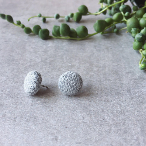 Textured grey gray fabric round earrings - post earrings - Hypoallergenic earrings - handmade - EtsyAU - kookinuts