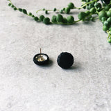 Faux snake leather 'Black Snake' hypoallergenic post earrings - Hypoallergenic surgical stainless steel - kookinuts