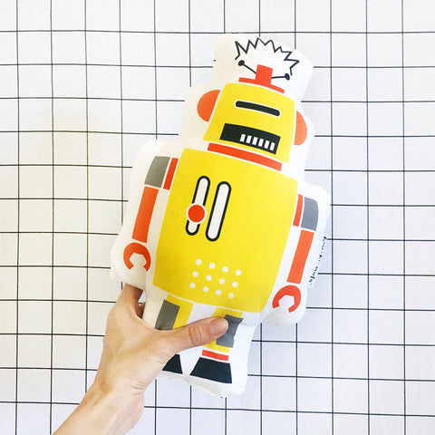 Yellow retro robot pillow robot cushion - robot toys - stuffed robot - boys bedrooms - yellow robot