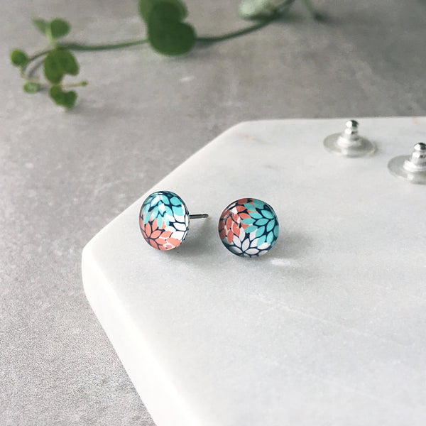 Red, aqua and white dahlia flower pattern - small Glass stud post earrings - Hypoallergenic post earrings