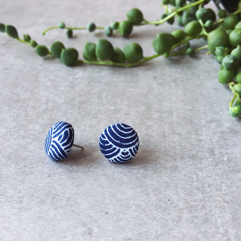 Blue and white button earrings - Chasing Waterfalls fabric stud button earrings - Hypoallergenic
