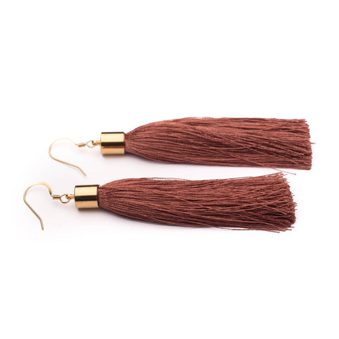 Dusty pink/Navy blue/Mustard Yellow silk tassel earrings - kookinuts