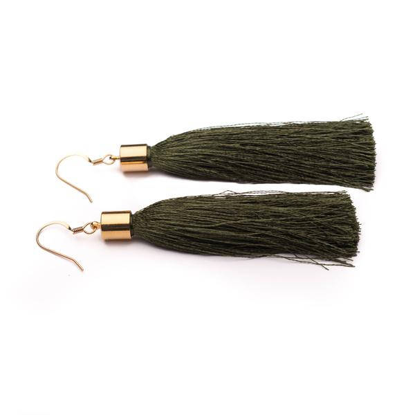 Khaki green long silk tassel earrings silver or gold