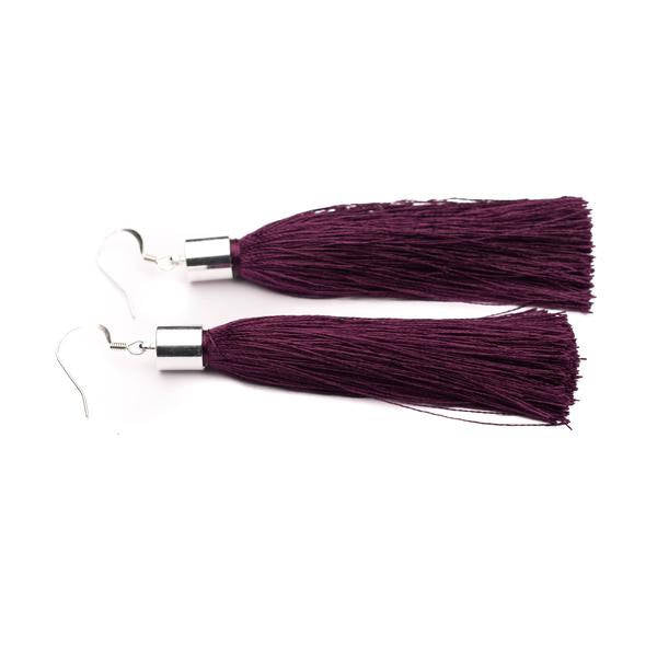 Long tassel earrings silver or gold dark plum purple silk tassel earrings - kookinuts