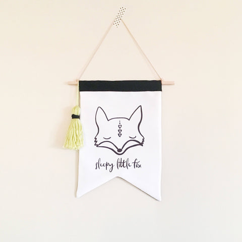 READY TO POST Eco Wall Flag - Sleepy Fox - kookinuts