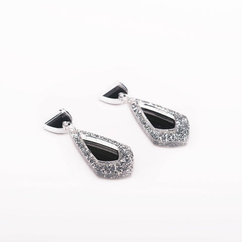 Glitter Earrings - Silver Glitter + Silver Mirror