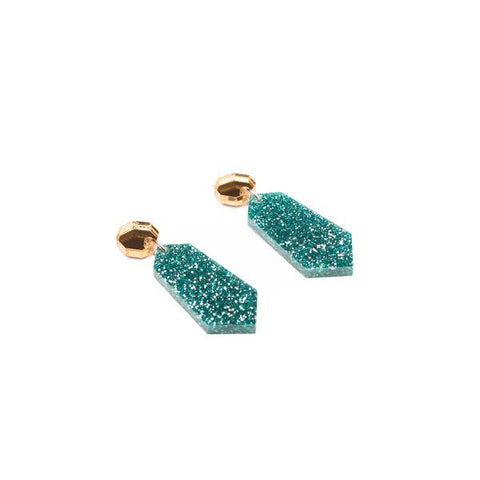 Glitter Earrings - Teal Blue