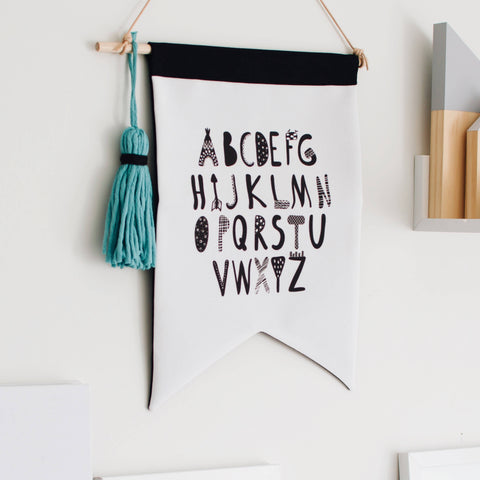 READY TO POST Eco Wall Flag - Alphabet - kookinuts