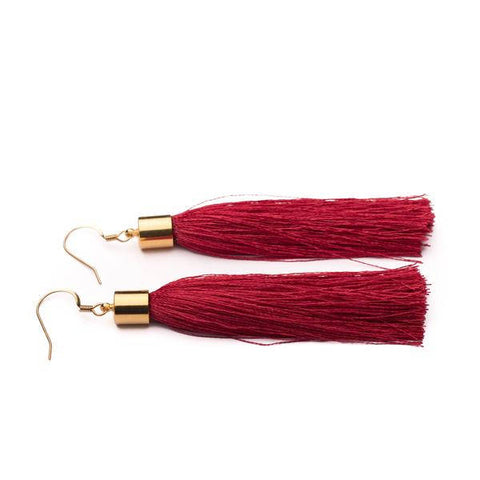 Red silk tassel earrings in Silver or Gold - kookinuts
