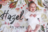 GOTS Certified Organic Muslin Swaddle Wrap - Personalised Options - Vintage Watercolour Wildflowers