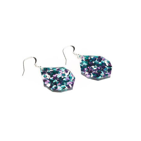 Glitter Earrings - Blue + Purple Heart Glitter