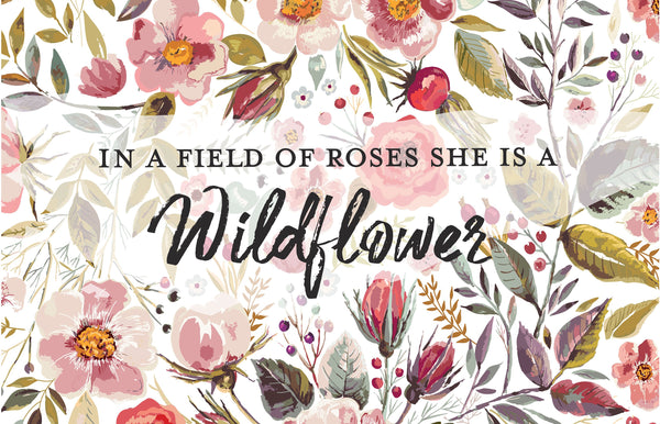 GOTS Certified Organic Muslin Swaddle Wrap - Personalised Options - In a Field of Roses, She is a Wildflower - kookinuts