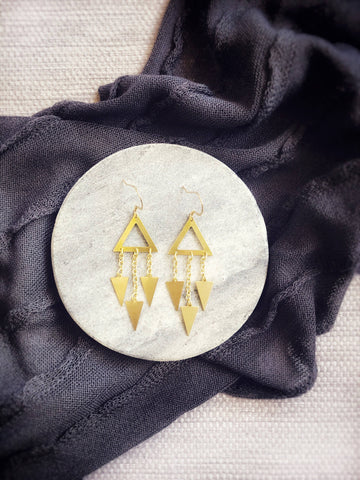 Earrings Triple triangle chain drop earrings Gold chain dangle earrings - kookinuts