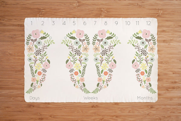 GOTS Certified Organic Milestone Blanket for TWINS - Personalised option - Boho Wings - kookinuts