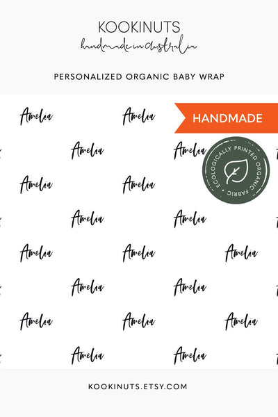 GOTS Certified Organic Muslin Swaddle Wrap - Personalised Options - Monogram Script Typography - kookinuts