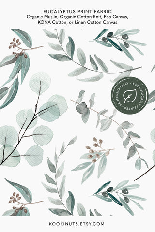 Eucalyptus Fabric Cotton Fabric by the Yard Ecologically Printed Australian Native Leaves Fabric Spoon Flower Spoonflower