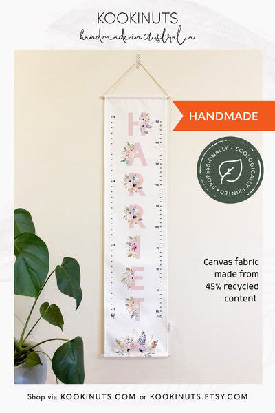Growth Chart (Eco Canvas) Personalised Options - Boho Name - Pink, Lavender, Mint or Peach