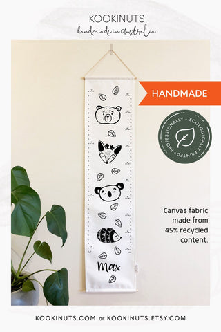 Growth Chart (Eco Canvas) Personalised Options - Woodland Animals - kookinuts