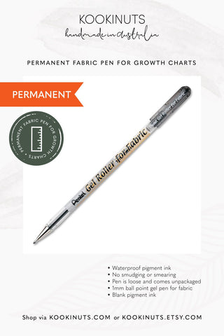 For Growth Charts - Black Fabric Gel Pen (Permanent) + printed Eco Canvas Fabric Swatch - kookinuts