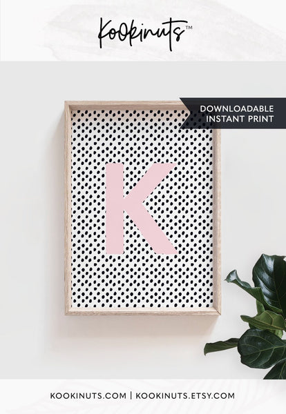 Personalised art print DOWNLOADABLE nursery prints Letter K instant printable nursery art girls room girls nursery prints for kids wall art - kookinuts