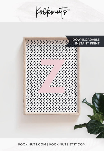 DOWNLOADABLE nursery prints Letter Z instant printable nursery art for girls room girls nursery prints prints for kids wall art - kookinuts