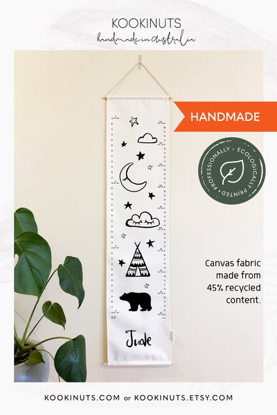 Growth Chart (Eco Canvas) Personalised Options - Dream Big, Grow Big