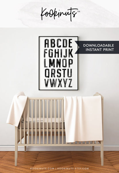 Downloadable print - Painted Alphabet poster - kookinuts