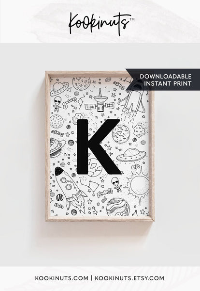 Space art for kids room DOWNLOADABLE art prints for boys nursery prints Letter K Space theme instant printable nursery art for boys room - kookinuts