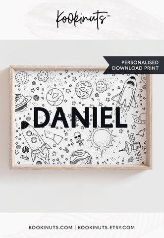 Personalised Printable - Kid's name - Space theme - kookinuts