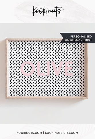 Personalised Printable - Kid's name - Pink with black polka dots - kookinuts