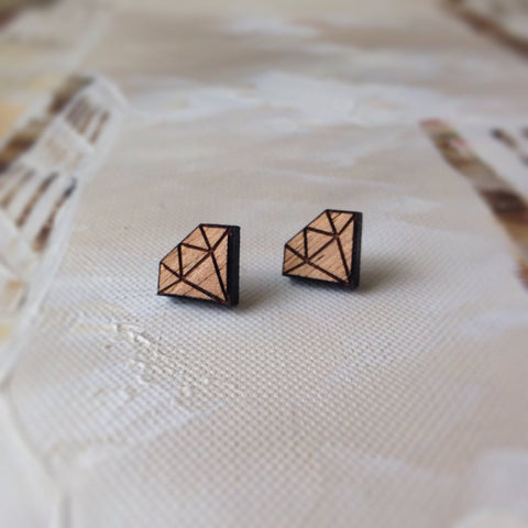 Geo Diamond - geometric stud earrings Made in Australia - Hypoallergenic Surgical stailess steel